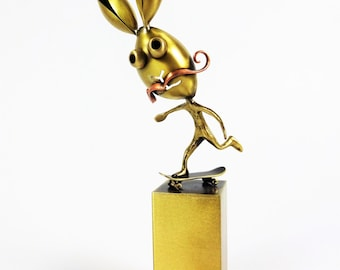 Skater bunny with hipster mustache on a metal basis. Sk8. Gifts for skaters. Unique gifts. Metal art. Bronze art