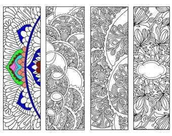 Bookmarks Coloring Printable, scaleable PDF file super quality, Instant Download. 53v.
