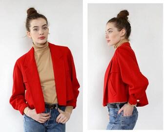 Wool Cropped Jacket S/M • Vintage Red Jacket • Even Picone Jacket • Cropped Wool Jacket • Vintage Wool Jacket • Red Cropped Jacket | O465