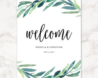 Printable Wedding Welcome Sign - Eucalyptus Leaves - Greenery - Watercolor