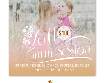 INSTANT DOWNLOAD - Fall Mini Session Marketing board Photoshop template - MA161
