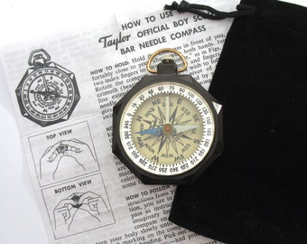 Vintage Bakelite Taylor Leedawl Compass, !950's, Instructions, Storage Bag, Orienteering, Hiking, Scoutmaster, Gift Idea, Father's Day
