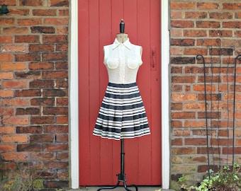 60s mod dress | 1960s scooter dress | mini dress | vintage crochet dress | striped sleeveless dress by Country Set
