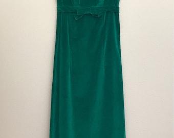 1960's Emerald Green Velvet Gown Maxi Dress- XS