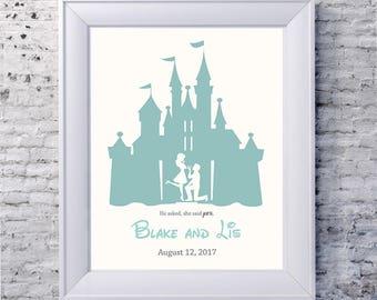 Just Engaged Disney, Engagement Gift, Disney Enagaged, Personalized Engagement gift, personalized design, engaged in disney