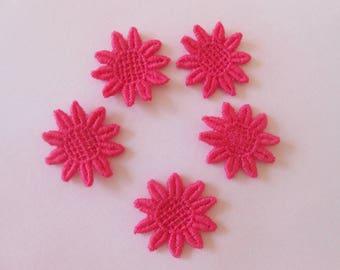 5 flowers lace pink fuchsia 2.6 cm