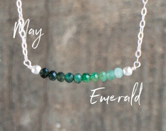Emerald Ombre Bar Necklace