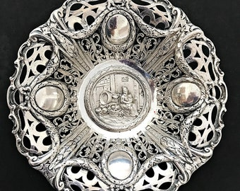 German Silver Bowl Georg Roth Hanau Ornate Repousse Footed Silver Bowl