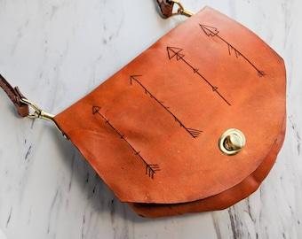 Leather Crossbody Bag / Belt bag / Arrow bag / Clutch