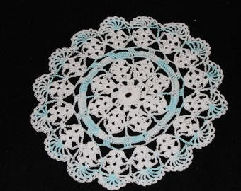 New Hand Crocheted Doily - white and blue ice