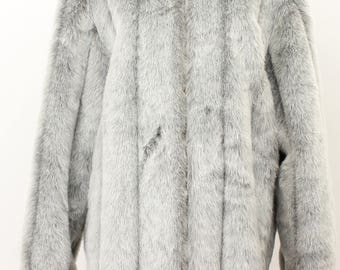 Dennis Basso Gray Fur Coat Size: Large