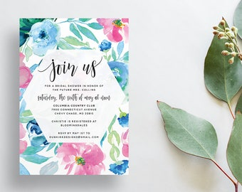 Watercolor Floral Shower Invites / Pink Blue Green / Calligraphy / Semi-Custom Party Bridal Shower Invites / Print-at-Home Invitations