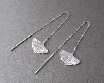 Earrings dangling chains through 925/1000 silver ginkgo leaf