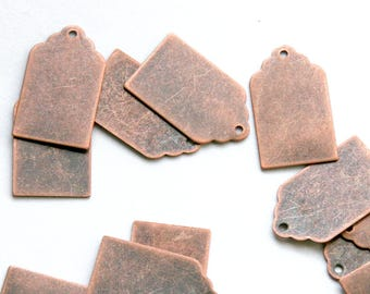 Antique Copper Stamping Tag Blank. 12x21mm. Stamping tag, scalloped top. For hand-stamped jewelry, initial charms. Blank tag. QTY 5+ (2-15b)