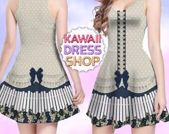 Summer Blues Fence JSK Dress Ivory Diamonds, Skater Dress in XS-5XL, country lolita, kawaii dress, casual lolita dress, country and western