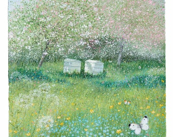 Sunny Orchard, Beehives in a Wildflower Orchard Print