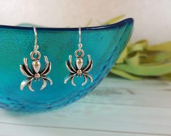 Spider Earrings - Halloween Earrings - Silver Spider Earrings - Spider Earrings - Goth Punk Earrings - Halloween Gift - Spider Jewelry