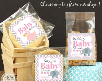 Baby Shower Favors, Personalized Label and Bags, Candy Bag Tag, Elephant Baby Shower, Duck Baby Shower Favors, Cookie Bags, Cello Bags & Tag