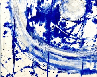 Abstract painting box, blue and white painting, mixed technique, abstract painting, contemporary painting, original canvas painting, spiral