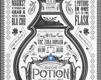 Legend of Zelda Potion Series Blue Chu Hyrule Vintage Art  signed museum quality giclée fine art print