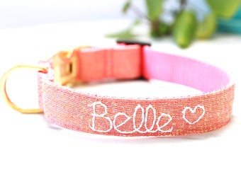 Rose Gold Dog Collar - Hand Embroidered Dog Collar - Personalized Dog Collar  - Pink Linen Dog Collar - Gold Dog Collar -Glitter dog Collar