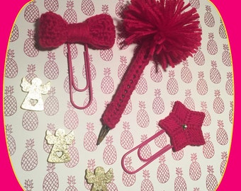 PomPom Pen Cover and Bow, Star Large Pink Paper Clip