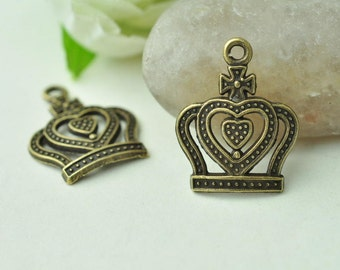 20pcs Antique Bronze Love Heart Crown Charms Cross Charms 21x17mm MM897