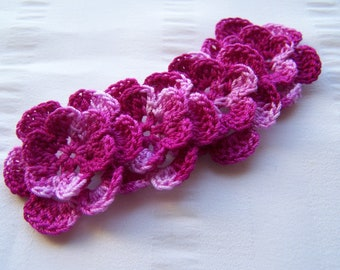 Appliques hand crocheted flowers embellishment set of 4 in boysenberry shaded cotton 1.5 inch