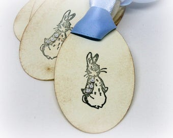 Easter Gift Tags (Double Layered) - Peter Rabbit Baby Shower Hang Tags - Beatrix Potter Vintage Style Labels - Rabbit Party Favor (Set of 8)