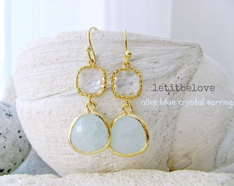 Bridesmaid Earrings Sets Alice Blue Gemstone Earrings Crystal Dangle Earrings alice blue Gold Earrings Wedding Jewelry Beach Wedding gift