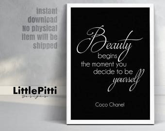 Printable art Coco Chanel quote, Beauty begins the moment you decide to be yourself, Fashion Quotes, Chanel Wall Art Print, Digital File