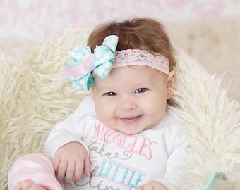 Pink and aqua hair bow and headband, Newborn Photo Prop, Baby girl headband, pink and  aqua polka dots on a pink stretch lace,  headband