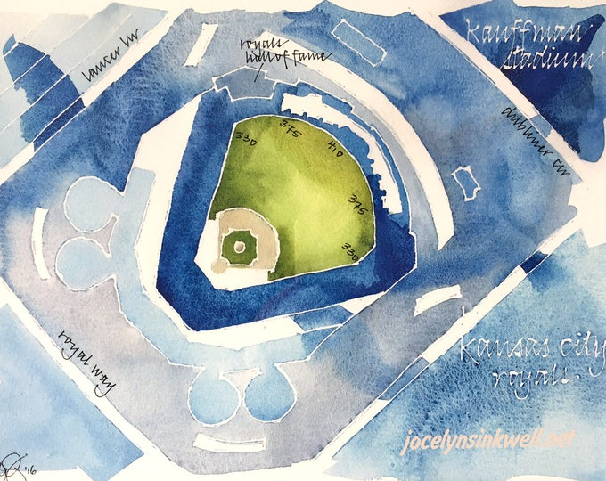 Featured listing image: CUSTOM Baseball Stadium Watercolor Map of Your Favorite Ballpark in Sports Team Colors