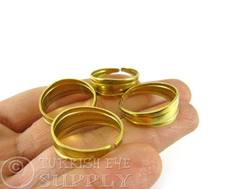 20 Raw Brass Adjustable Rings, Adjustable Ring Base Blank, Raw Brass Findings