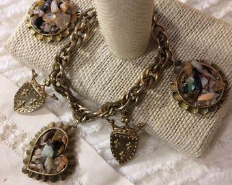 Unique Vintage Stone Cluster/ Shield/Coat of Arms/Crest Charm Bracelet