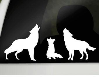 Wolf Family Car Decal, car window sticker, family wolf decal, car sticker family, window cling, silhouette window cling, wolf car decal