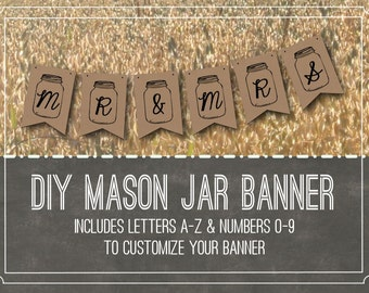 Rustic Wedding Banner Kit // Miss To Mrs Bridal Shower Bunting // DIY Mason Jar Banner // Mr and Mrs Garland Baby Shower Banner Printable