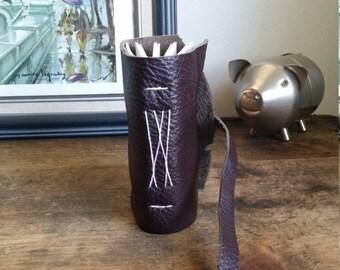 Handmade Leather Journal, Pocket-Size, Dark Brown 3 x 4.5 Journals by The Orange Windmill 1719