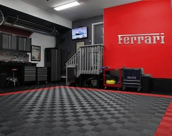 Ferrari Garage Sign 6 Feet Long Brushed Silver