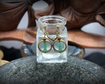 Ohrstecker Ohrringe Grün jade Runde Frame Bronze Perlen