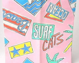 """Vintage 80s & 90s Gift Wrap By Hallmark - 1 sheet (20"""" x 30"""") - All Occasion Wrapping Paper Pink Cats Birthday Summer Beach Party Surf Ocean"""