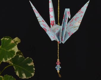Origami Crane Hanging Ornament - light blue paper, bunnies and flowers, baby gift, hand varnished, on gold string with Swarovski crystals