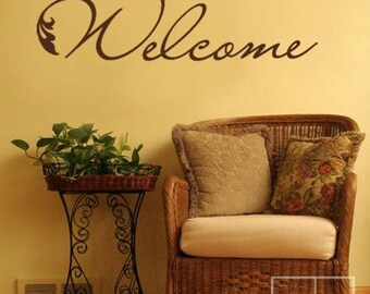 Welcome Wall Decal, Welcome Vinyl Wall Lettering Decal, Welcome Wall Quote Decal for Home Decor, Welcome Wall Sticker Home Decor