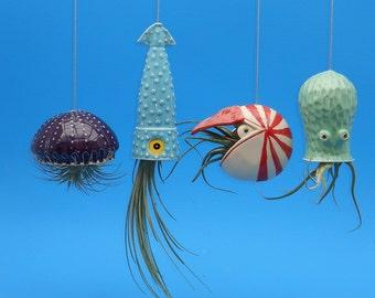 4 Large Air Planters , Octopus Garden Collection,  Jellyfish, Squid, Octopus, Nautilus, Whimsical Gift, Aquatic Wonderland
