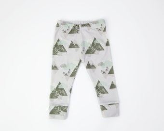Organic Cotton Knit Leggings for Baby and Toddler - Grey Mountains