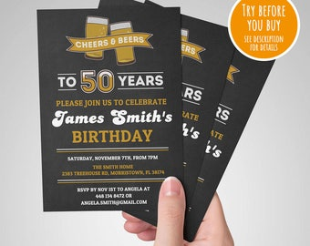 50th birthday invitation etsy 50th birthday invitation male cheers to 50 years cheers and beers invitation 50th filmwisefo Choice Image