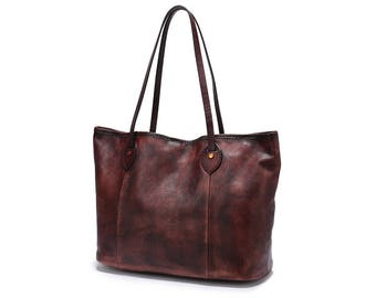 Leather Tote Bags for Woman,Rustic Large Tote Bag,Leather Hobo Bag,Weekender Tote Bag for Women Shoulder Bag,Handbag Dark Brown,M79