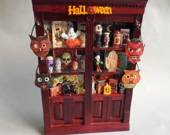 Dollhouse Miniature Halloween Cabinet Filled with Vintage Halloween Games and Supplies, 1:12