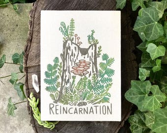Reincarnation 8 x 11 Canvas Nature Botanical Hand Lettered Wall Art
