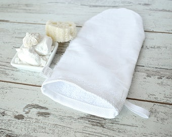 Natural  linen washcloth - Linen-cotton washcloths - Massage washcloth - Cotton baby washcloth - Baby bath washcloth